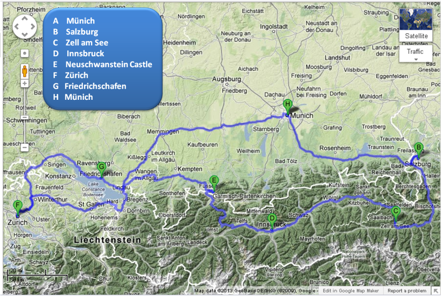 Münich-Salzburg-Innsbruck-Zürich-Münich