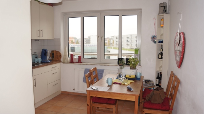 Airbnb'den kiraladığımız evin mutfağı
