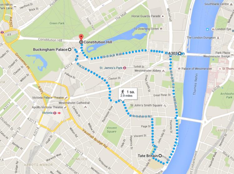 Bu da St James Park'lı yürüyüş rotası