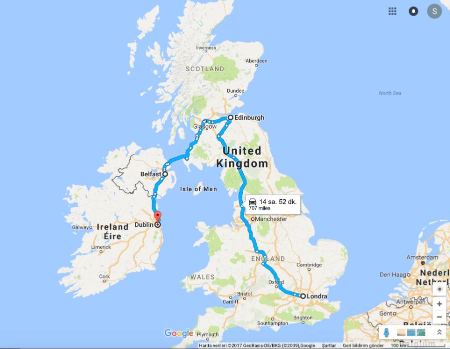 Londra-Edinburgh-Belfast-Dublin rotası. Yalnız haritada araba rotası gösterse de bizim yolculuğumuzda araba hiç yok.