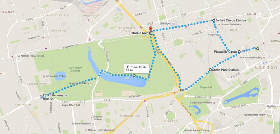Bu Hyde Park'lı yürüyüş rotası