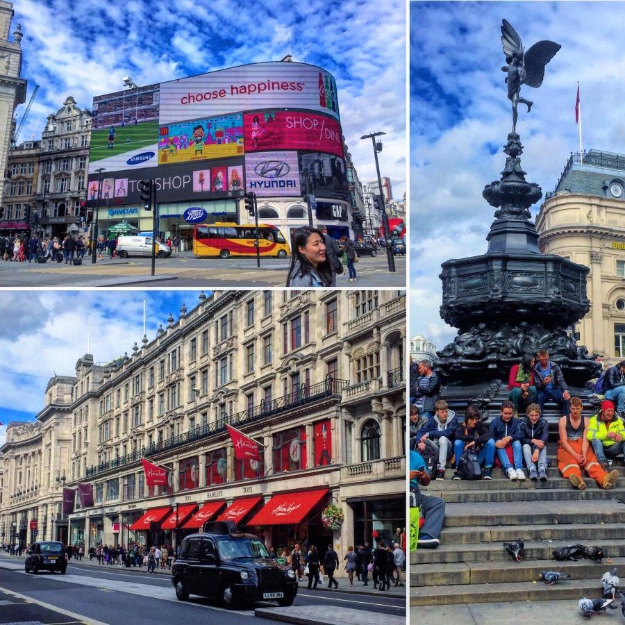 Piccadilly Meydanı ve Meydandan Regent's St'a doğru ünlü oyuncakçı Hamleys
